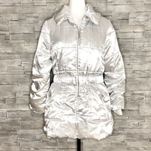 Midtown shiny silver puffer coat